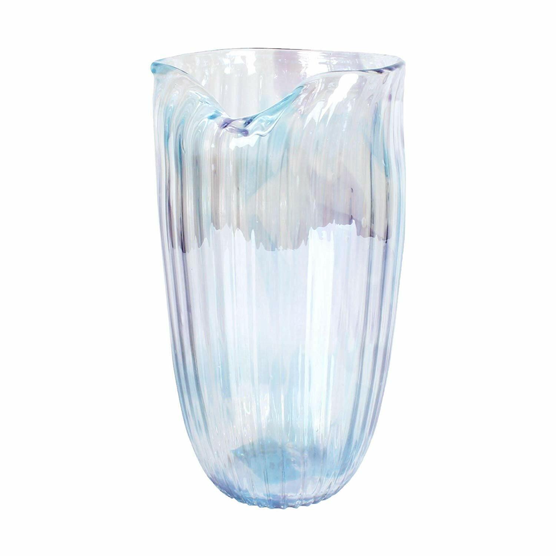 Die schwere Glas Vase im Perlmuttdesign XL, Blaumenvase, Bodenvase, Glasvase