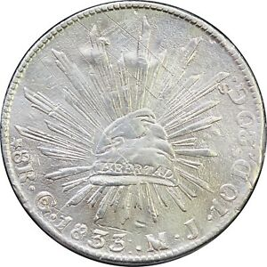 Mexico-8-Reales-Go-1833-M-J-Guanajuato-Mint-Scarce-Full-034-J-034-KM-377-8