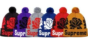 863cc5cf Image is loading Supreme-Rose-Beanie-Navy-FW2012