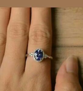 3Ct Oval Cut Blue Tanzanite Diamond Engagement Wedding Ring 14K White Gold Over