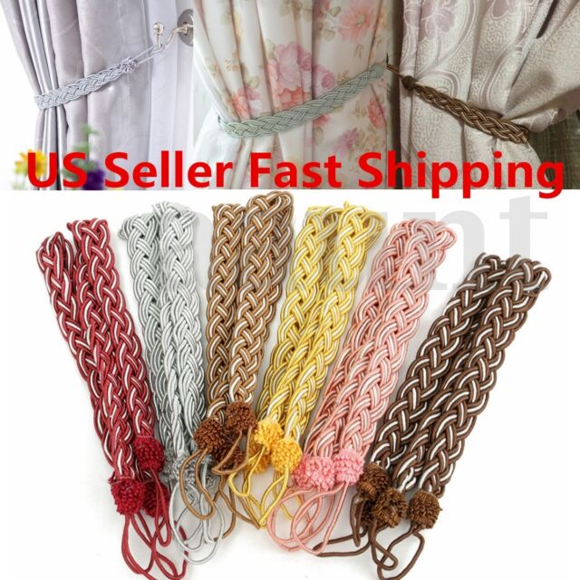 2Pcs Vintage Knitted Satin Rope Window Curtain Decor Tieback Fringe Tie Backs