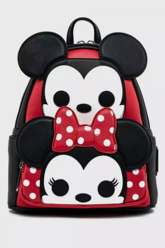 Loungefly Disney Mickey Mouse All Over Print Gray Mini Backpack Purse Bag Funko