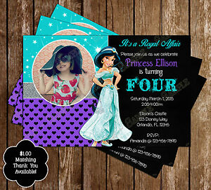 Image Is Loading Disney Princess Jasmine Aladdin Birthday Invitations 15 Printed
