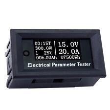 7 in 1 OLED 100V 20A Voltage Current Time Temperature Meter Voltmeter Ammeter