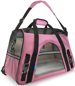 Pet-Carrier-Soft-Sided-Small-Cat-Dog-Comfort-Rose-Wine-Pink-Bag-Travel-Approved