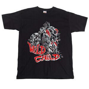 Children-039-s-Kids-Bike-Motorcycle-Slogan-T-shirt-Wild-Black-Biker-Childs-Top