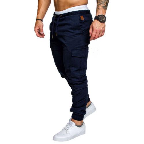 Men's Elasticated Cargo Combat Jogging Sport Trousers Pocket Sweat Pants Slacks