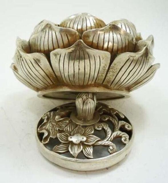Collectable Tibetan Silver Lotus Flower Figure Censer Incense Burner