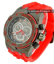 mens gunmetal clubbing watch red cable black dial red Euro sport strap
