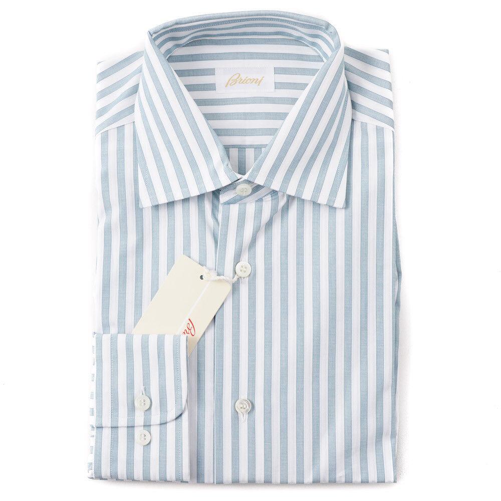 NWT  BRIONI Teal bluee-Green Striped Cotton Dress Shirt XL Button-Front