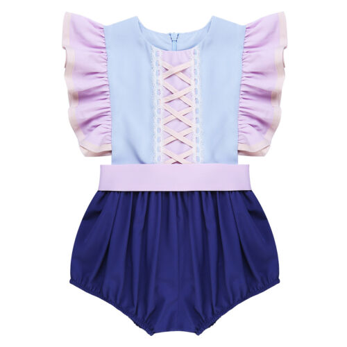 Infant Baby Girls Ruffled Sleeves Romper Jumpsuit Party Dress Up Clothes Outfit