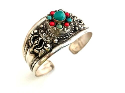 HANDMADE NEPAL ETHNIC TURQUOISE RED CORAL BEADED WIDE ADJUSTABLE CUFF LEATHER