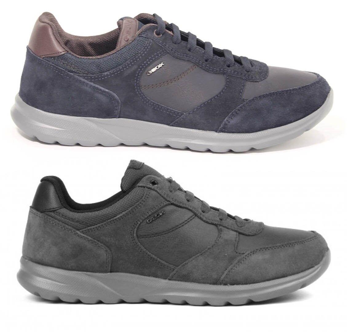GEOX DAMIAN U740HA dunkelblau anthrazit Schuhe Turnschuhe für Herren Leder Gämse      Mama kaufte ein bequemes, Baby ist glücklich