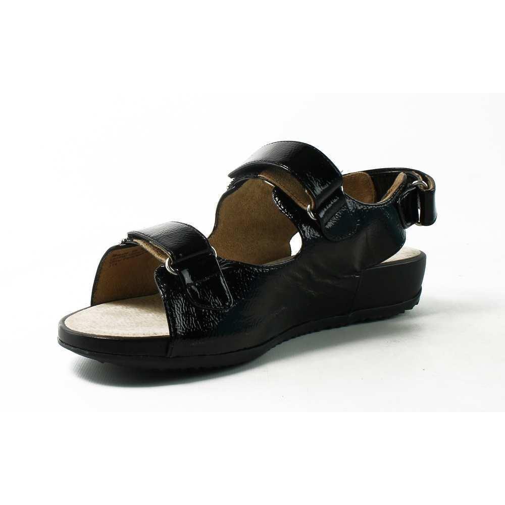 110 New SoftWalk Dana Point 12 Low Wedge Black Leather Women Amazing Sandal