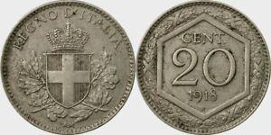 REGNO-D-039-ITALIA-VITTORIO-EMANUELE-III-RARA-MONETA-DA-20-CENTESIMI-1918-R