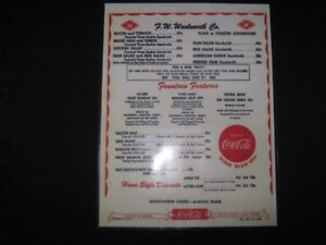 Image Is Loading Woolworth Retro Diner Menu Coca Cola Laminated