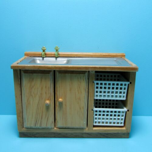 Dollhouse Miniature Laundry Sink and Organizer with Baskets in Oak T4288