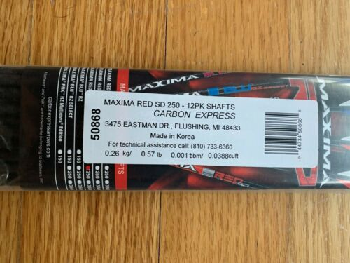 Carbon Express Maxima Red Zone SD Shafts 250 Spine One Dozen Free Shipping