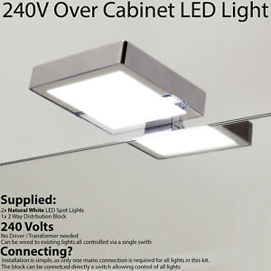 Details About 2x Over Cabinet Light 240v Natural White Led Square Chrome Bathroom Downlight