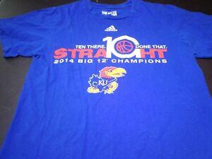 Details about KU Kansas Jayhawks 2014 Big 12 Basketball Champions 10  Straight T Shirt Small F2