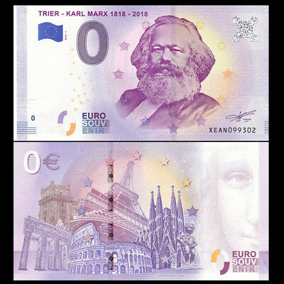 "SET OF 2 /""0 EURO/"" BANKNOTES KARL MARX ZERO € NOTES TRIER 1818-2018 BEST DEAL"