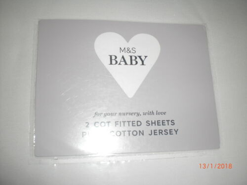 M/&S 2 pack Cotton Jersey Fitted Cot Sheets  Winter White BNIP