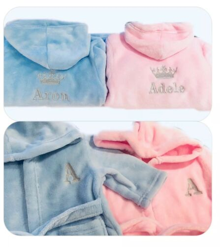 Personalised Baby Girl Boy Dressing Gown Bath Robe Embroidery Keepsake Name Gift