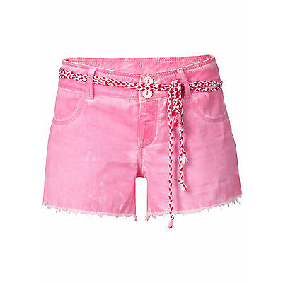 Shorts Hot Pants Gr. 36 pink washed kurze Hose Fransen Bindegürtel