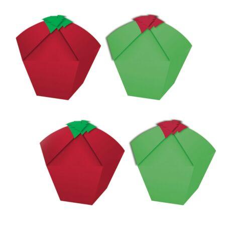 4 x rouge et vert noël cupcake cookie candy favor boîtes vides coffrets cadeaux