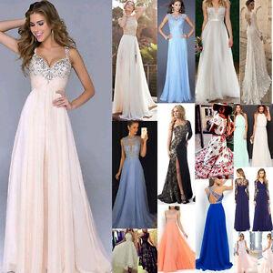 Donna-Elegante-Lungo-Chiffon-Ballo-Festa-Serale-Damigella-D-039-onore-Matrimonio-MA