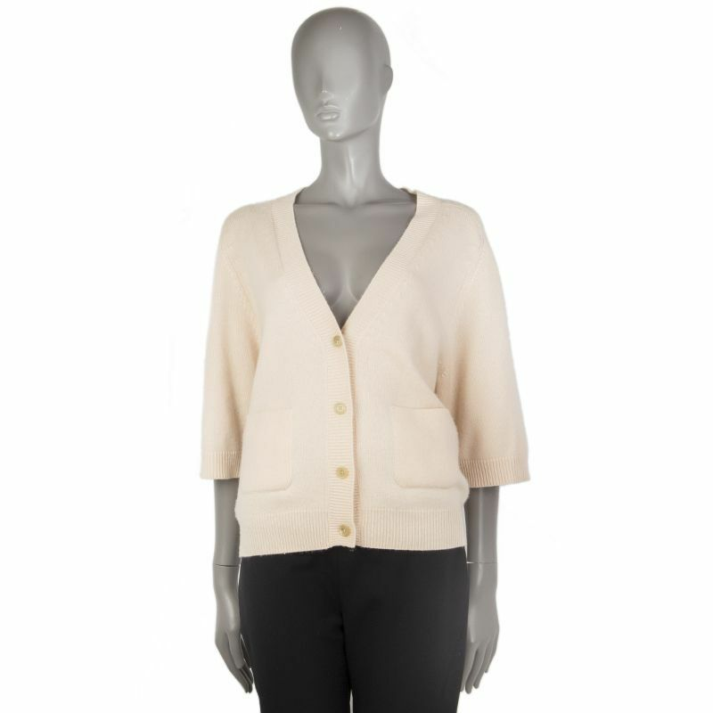55681 auth CHLOE pale pink cashmere Oversized 3 4 Sleeve Cardigan Sweater XS