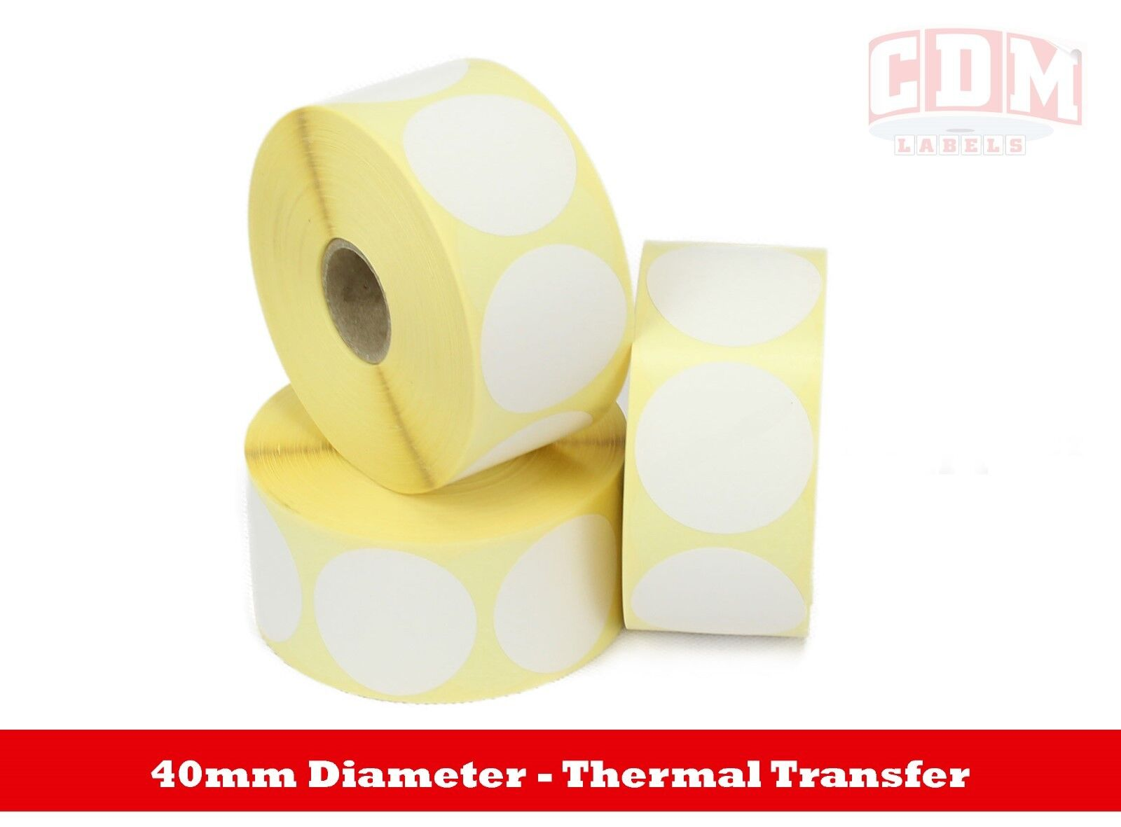 40mm Thermal Transfer Labels  - 1,000 per roll   25mm Core. Various quantities