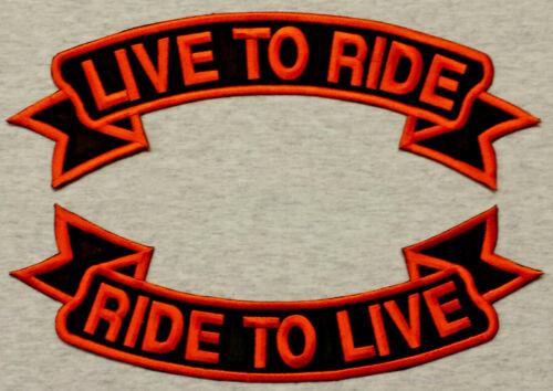 Patch Aufnäher LIVE TO RIDE RIDE TO LIVE BIKER Schleife 28-35 oder 40cm Nr 26