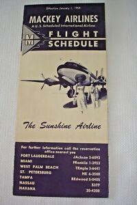 Vintage-1950-039-s-Flight-Schedule-MACKEY-AIRLINES-Fort-Lauderdale-to-Havana-Cuba