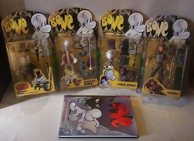 4 Jeff Smith Action Figuren Fone Smiley Phoney Bone Thorn 1996 mit Comic Buch