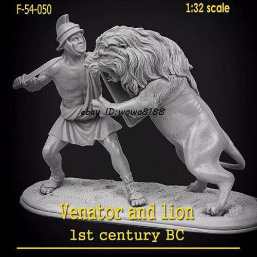 Unpainted 54mm 1//32 Scale Warrior /& Lion Garage Kit Resin Figure Model Statue