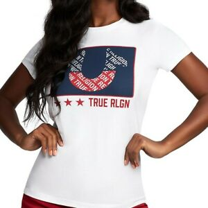 True-Religion-Women-039-s-Crystal-Embellished-Horseshoe-Block-Tee-T-Shirt-in-White