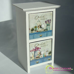 Wooden-Shabby-Chic-House-of-Orchids-Trinket-Jewellery-Storage-Box-2-Drawers