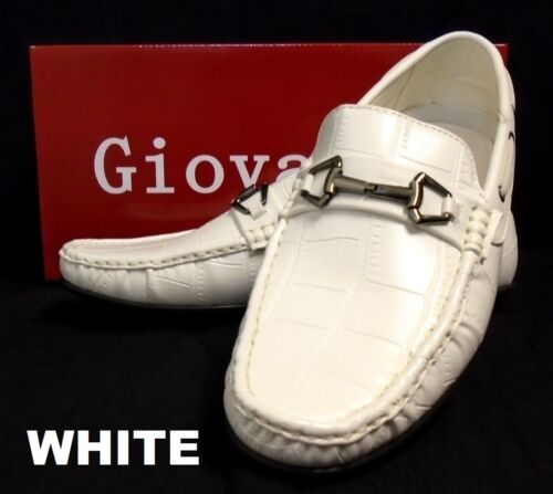 Men/'s GIOVANNI crocrodile print faux leather casual shoes white black navy M01-7