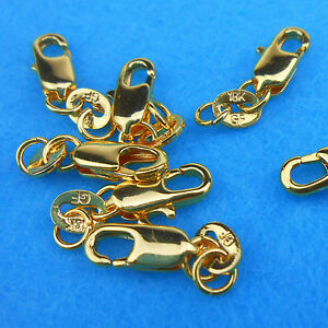 Wholesale-10P-Jewelry-Connector-18K-Yellow-Gold-Filled-Lobster-Clasps-Necklaces