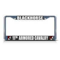 Blackhorse 11th Armored Cavalry Army Metal License Plate Frame Tag Border