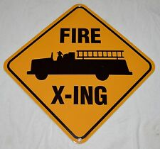 FIRE TRUCK CROSSING PORCELAIN SIGN 11 1/2 X 11 1/2 INCHES