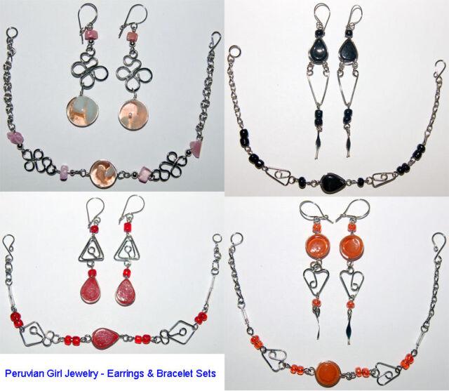 20 EARRINGS BRACELETS PERUVIAN SETS MURANO GLASS PERU ALPACA SILVER HANDCRAFTED