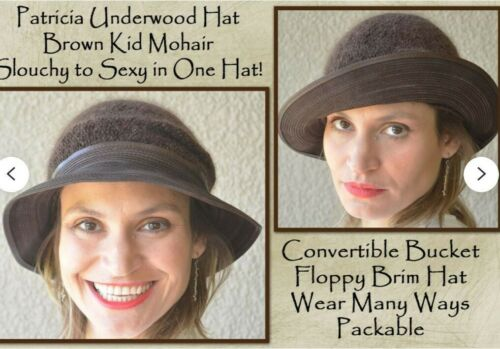 PATRICIA UNDERWOOD Brown Bucket Hat, Moldable Bri… - image 1