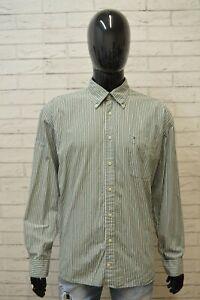 Camicia-Uomo-TOMMY-HILFIGER-Taglia-3XL-Maglia-Polo-Cotone-Shirt-Hemd-Righe-Verde