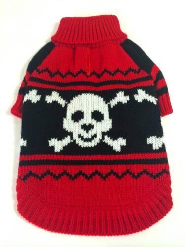 "Pet Flys /""NWT/"" Red /& Black Turtle Neck Sweater w// Happy Skulls Dog Clothing"