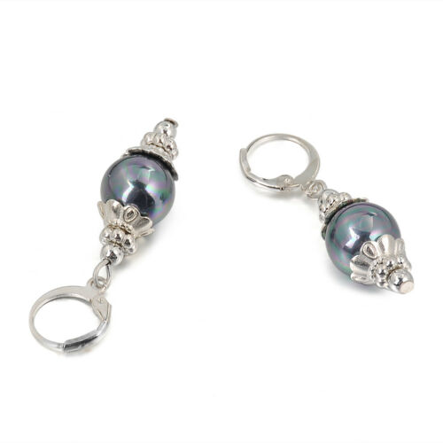 12 mm Tahiti Noir Paon Coquillage Pearl Silver Leverback Boucles d/'oreilles 1 paire