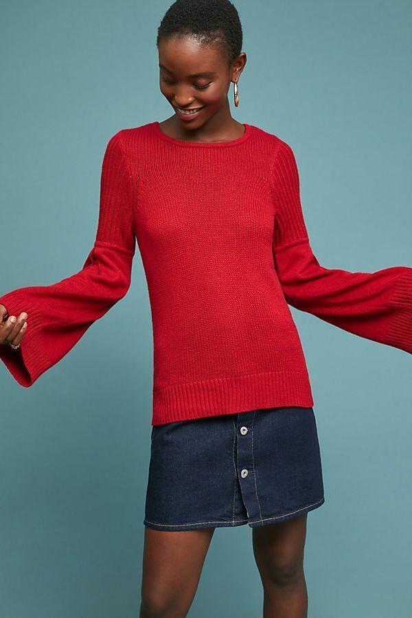 ANTHROPOLOGIE Bingham Bell Sleved tröja XS av Moth röd