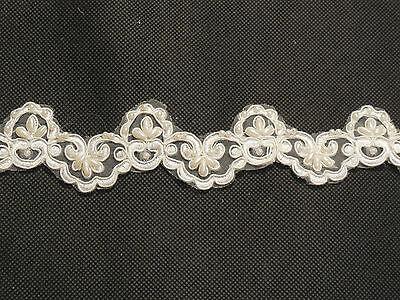 Ivory beads decorative lace trim / Bridal Wedding tulle Veil lace trim Per Yard