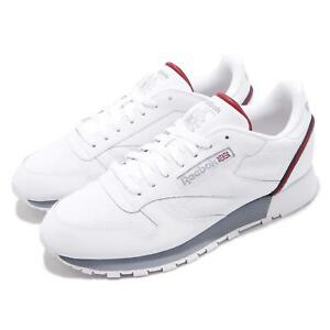 8074de00c7a Reebok CL Leather MU White Navy Red Men Classic Casual Shoes ...
